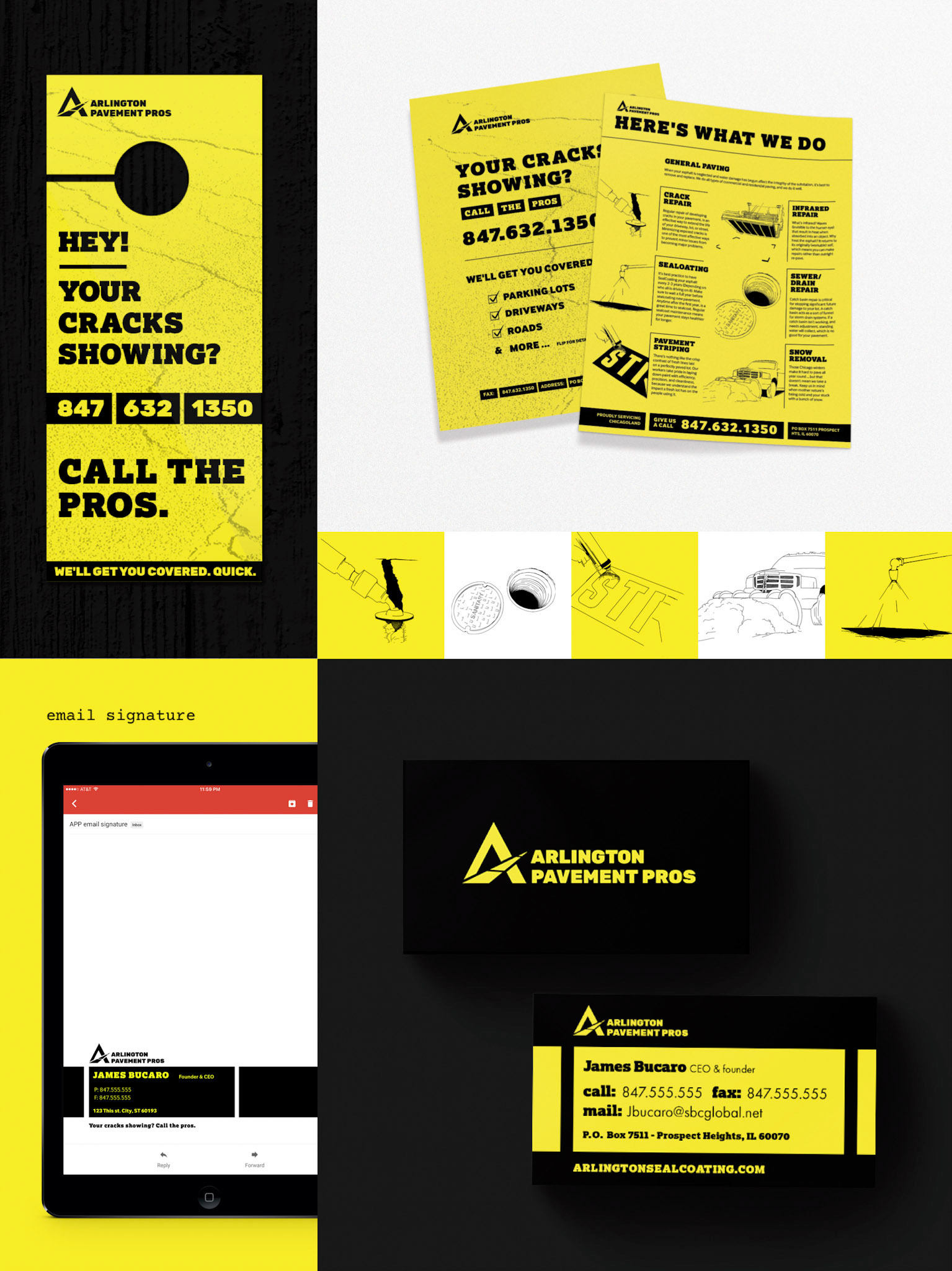 This image shows the brand at a glance. Including front and back sell sheets, door hanger, illustrations of services, email signature, and business cards.