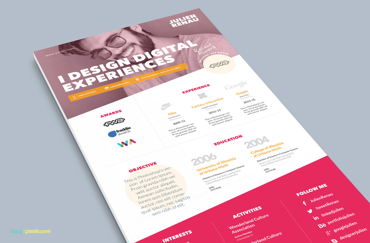 One Page Resume U0026 Cover Letter Template On Behance