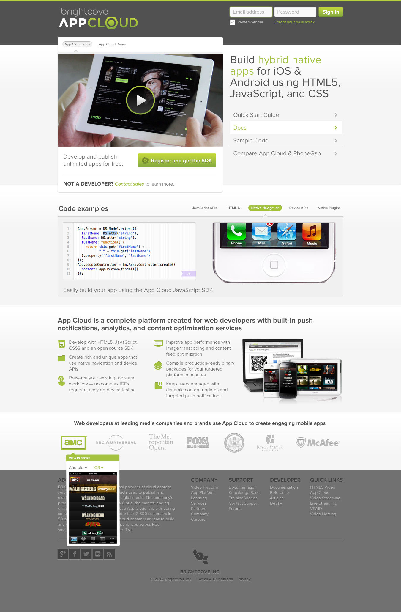 Developer portal and online campaign redesign on Behance
