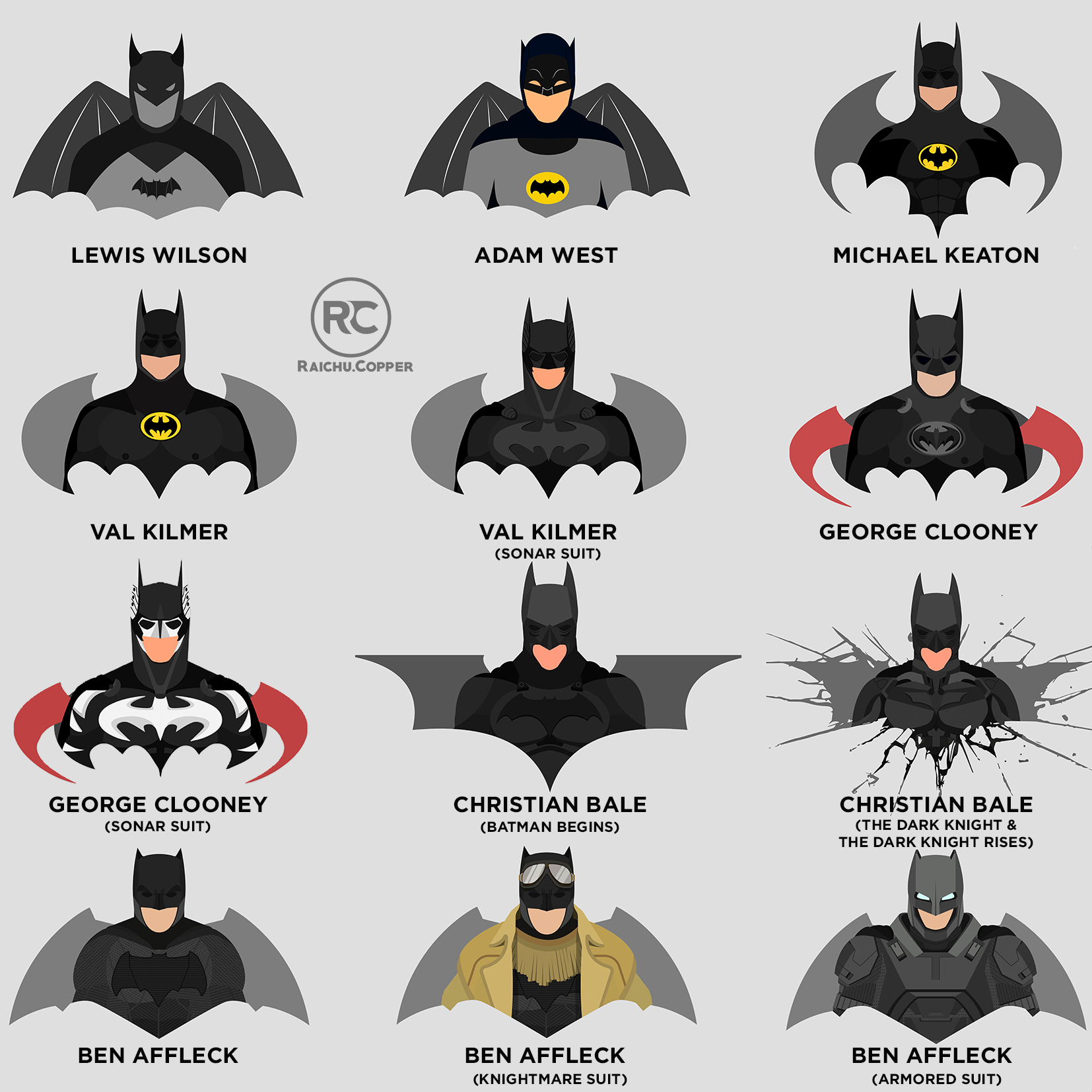 Batman Suits In Live Action On Behance