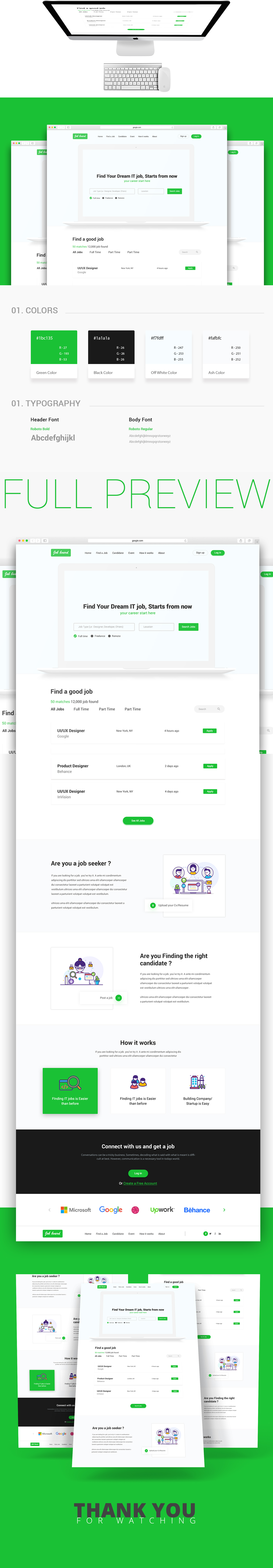 job board web interface design concept on behance
