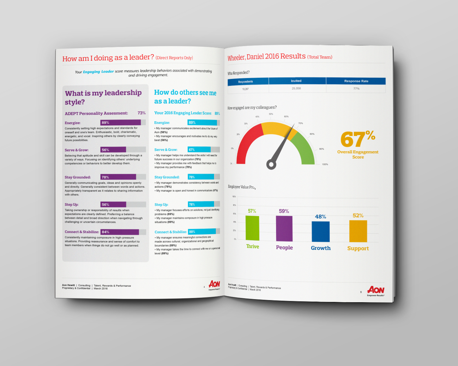 Engaging Leader Assesment Report pages with data visualization