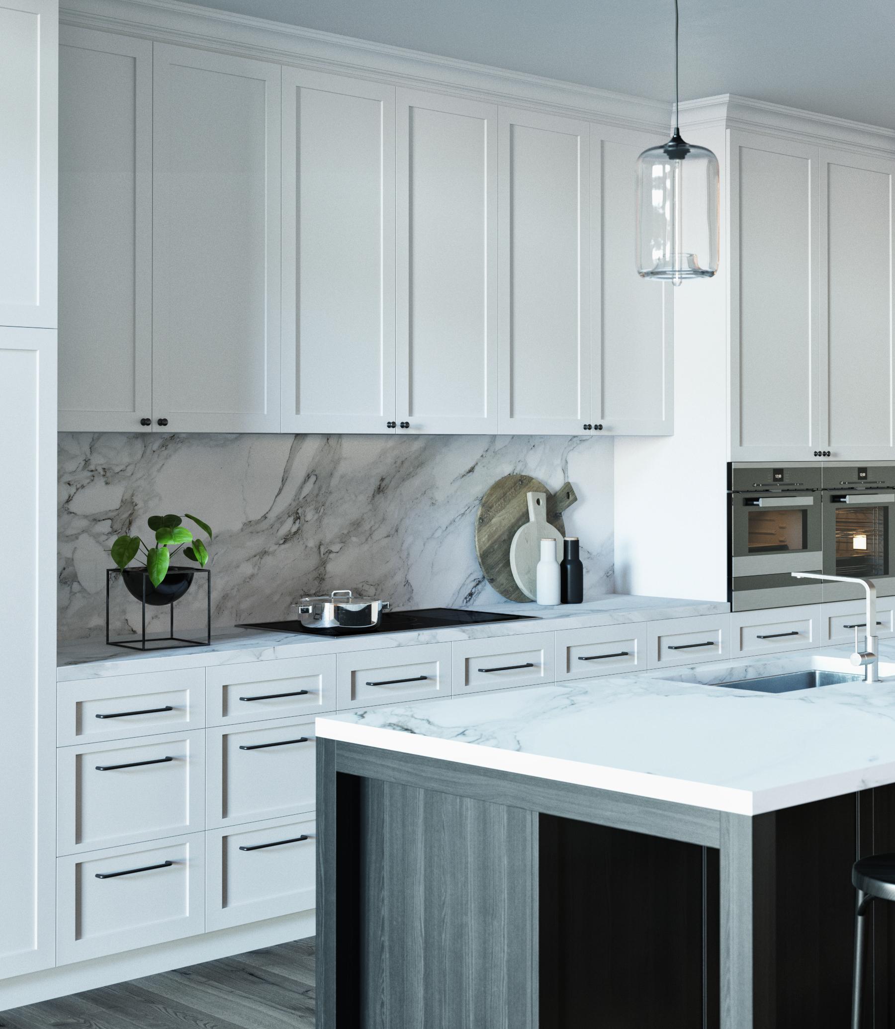 BLACK & WHITE KITCHEN   3d model on Behance