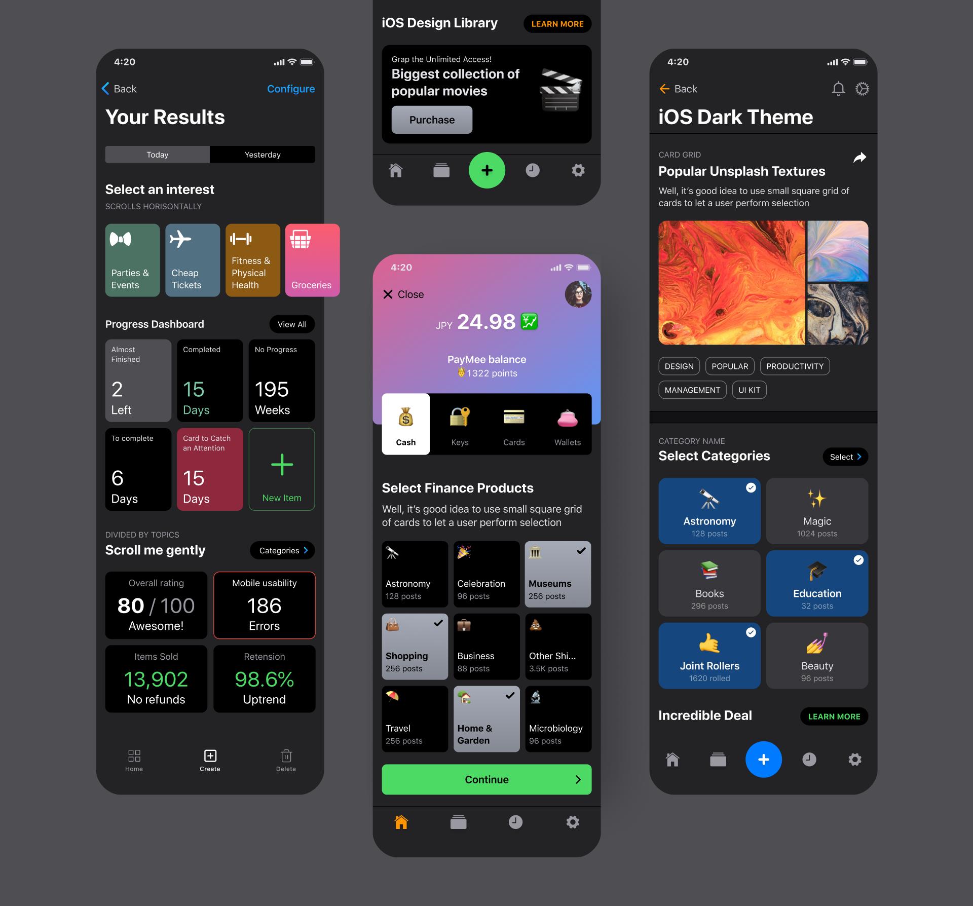 iOS Design Kit For Figma  Dark mode theme on Behance