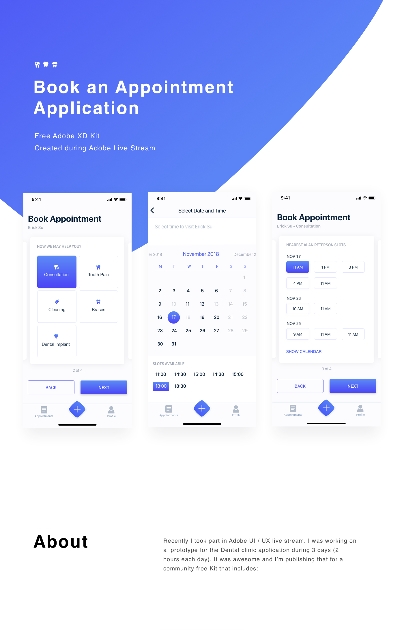 Book an Appointment  Free XD Template (Adobe Live) on Behance
