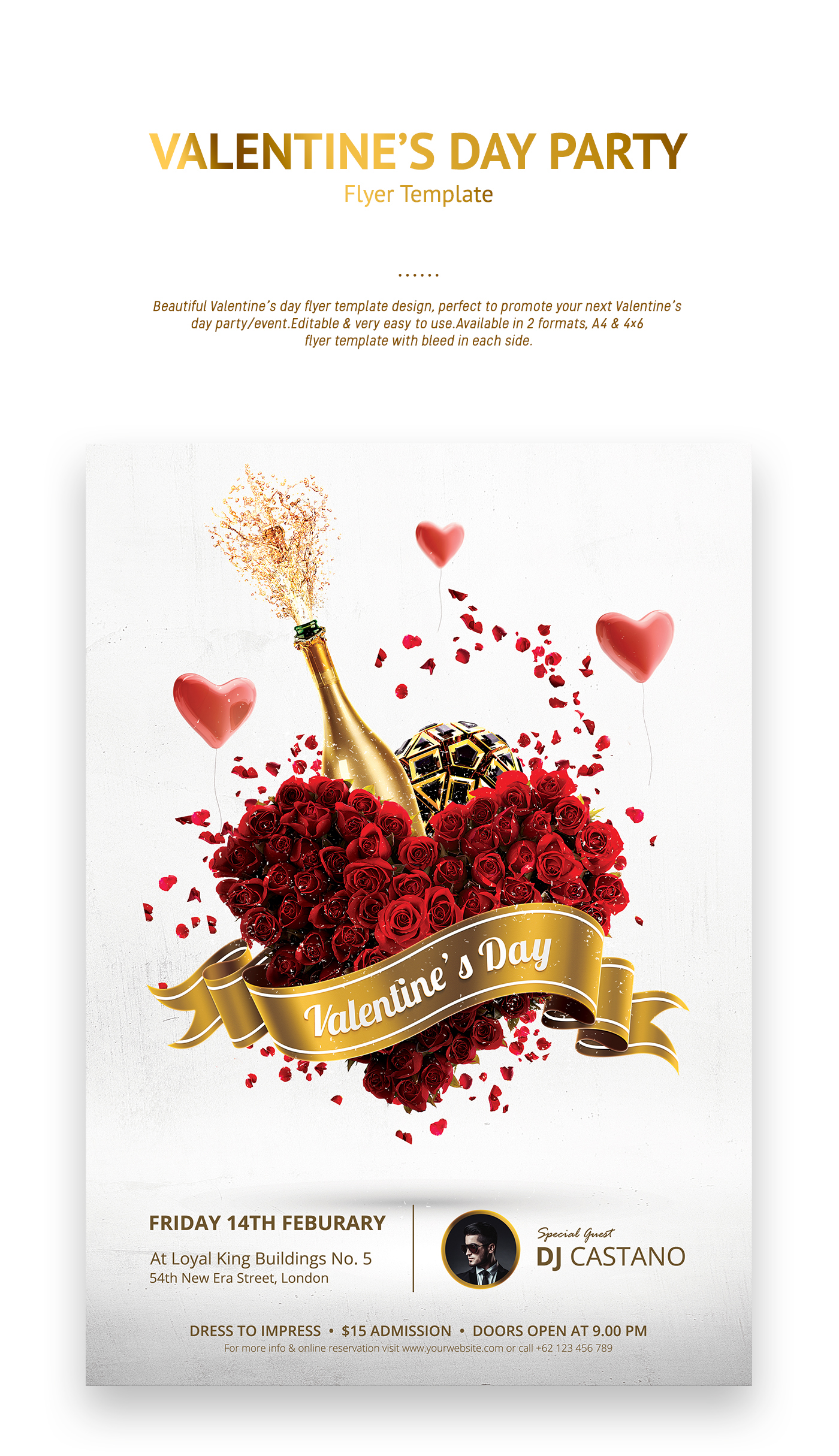 Valentines Day Party Flyer Template On Behance