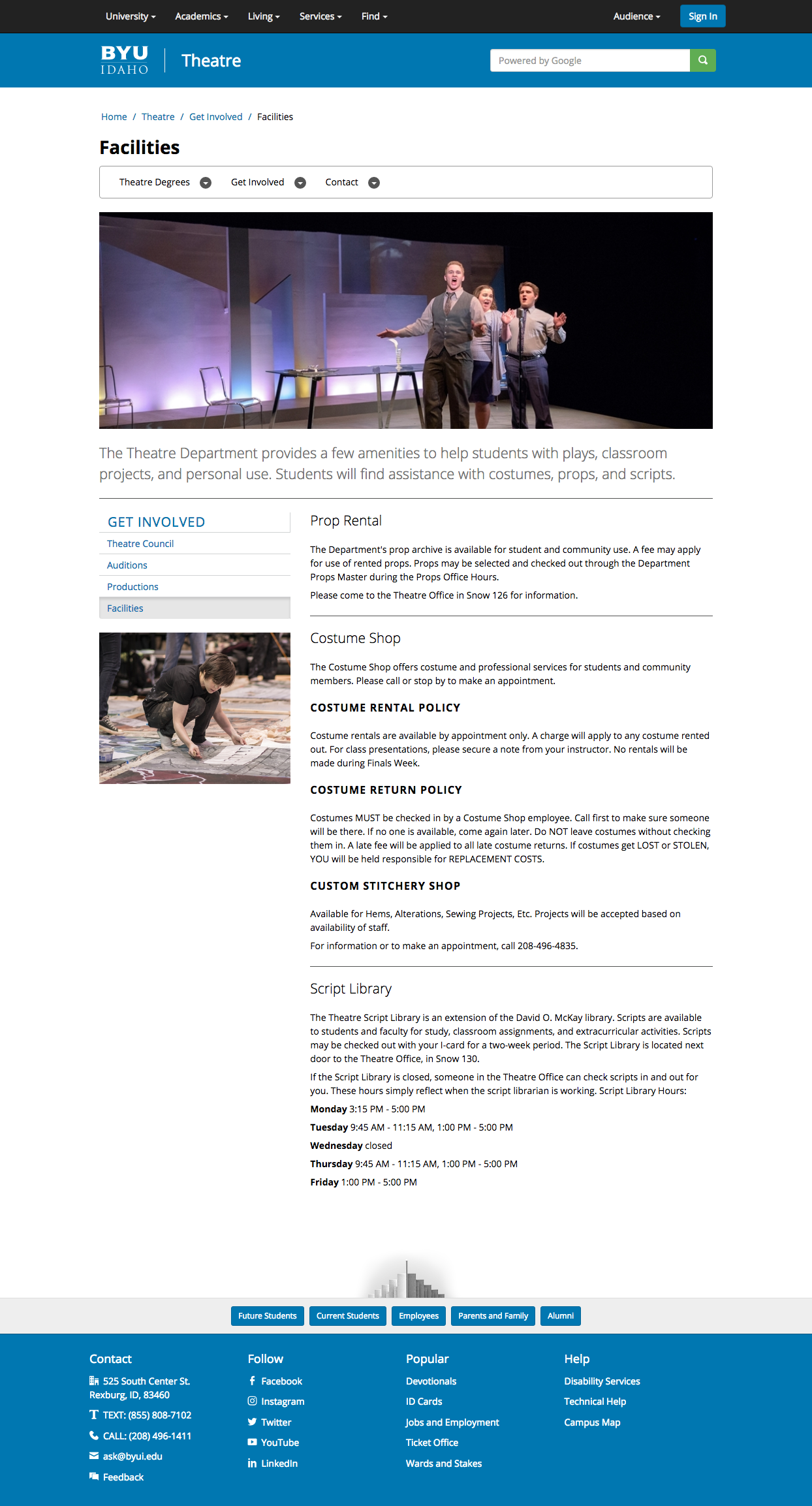 BYU-Idaho Theatre Department Website on Behance