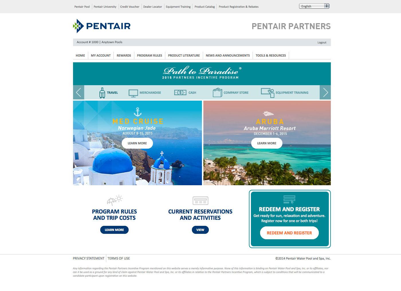 Pentair Partners Travel Registration on Behance