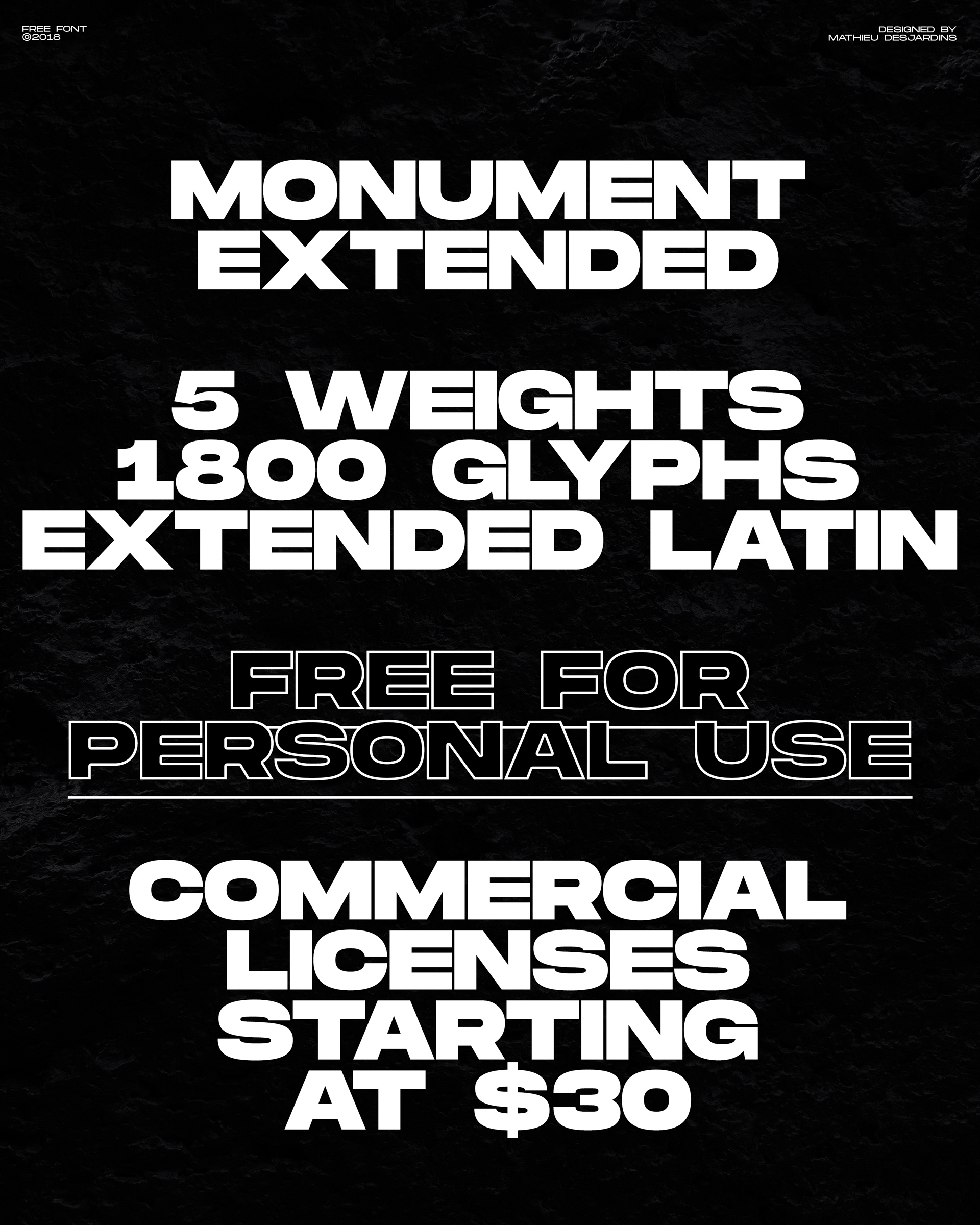 Free Font: Monument Extended by Mathieu Desjardins