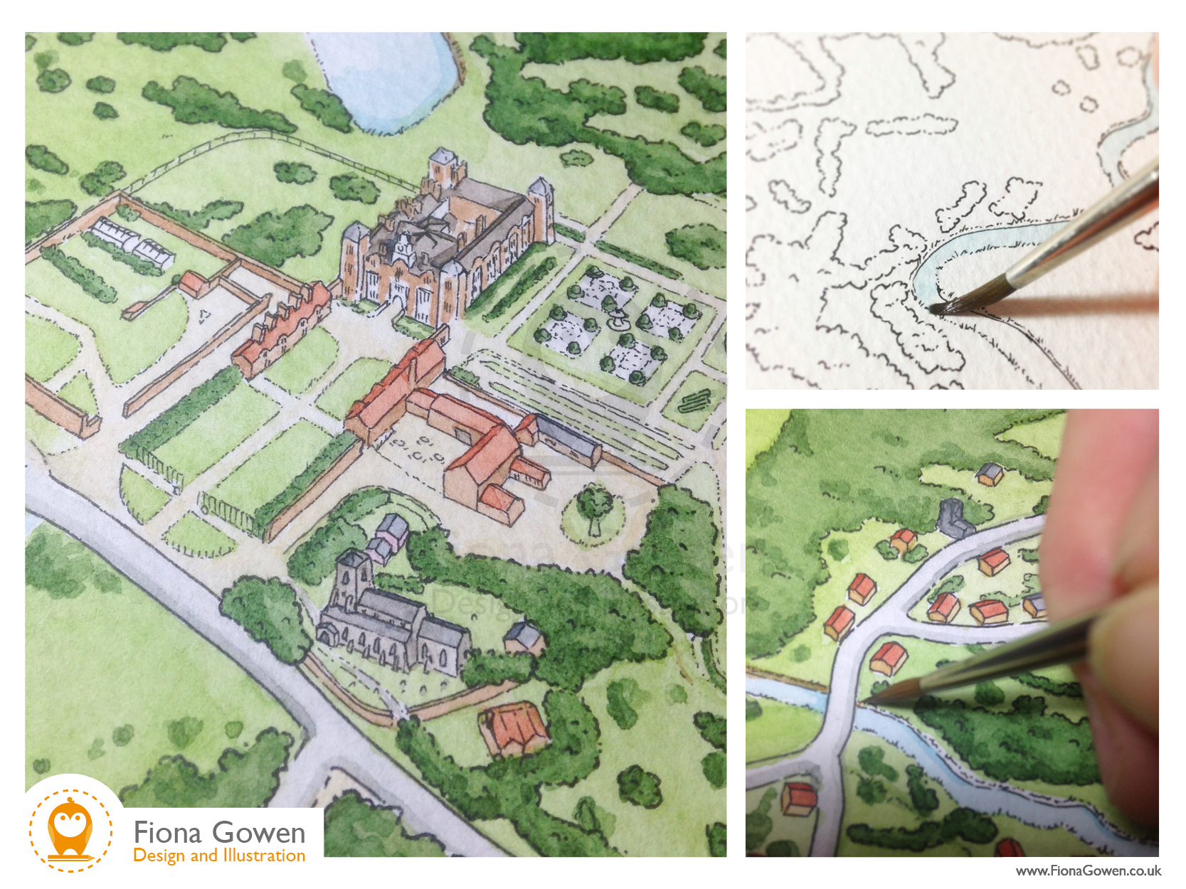 Three images of Blickling Hall visitor map illustration being painted in watercolours by Fiona Gowen