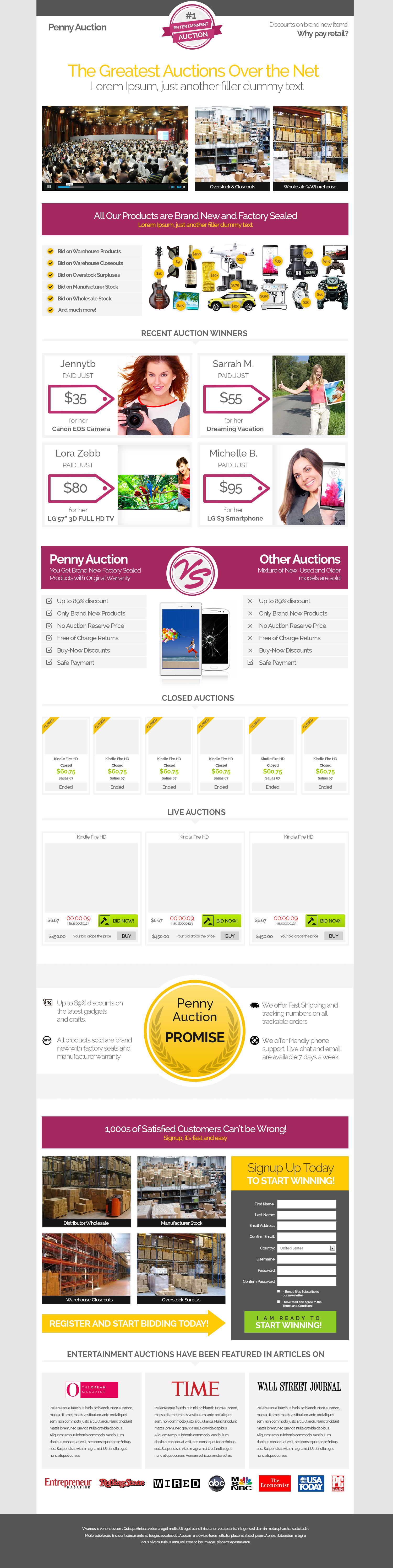 Responsive Bootstrap Auction Website Template On Behance