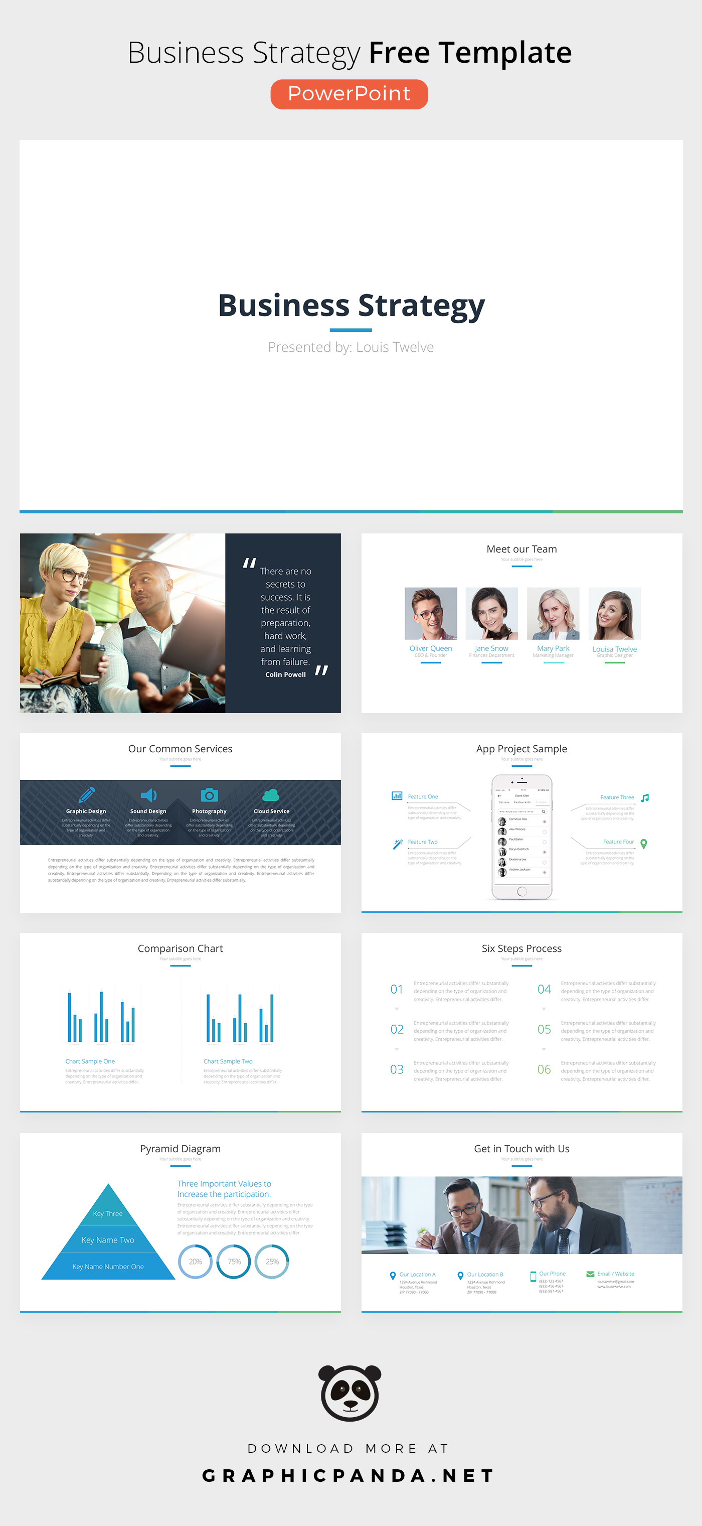 Free business strategy powerpoint template on behance if youre struggling with making a well designed presentation then this business strategy free powerpoint template can help you achieve the creative and cheaphphosting