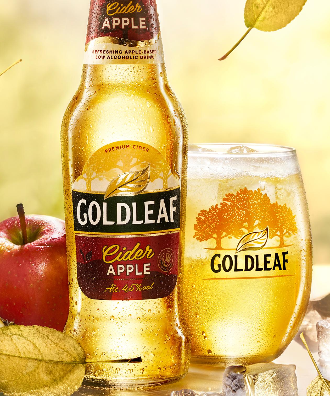 cider cold bottle ice apple beer leaf Photography  Post Production gold