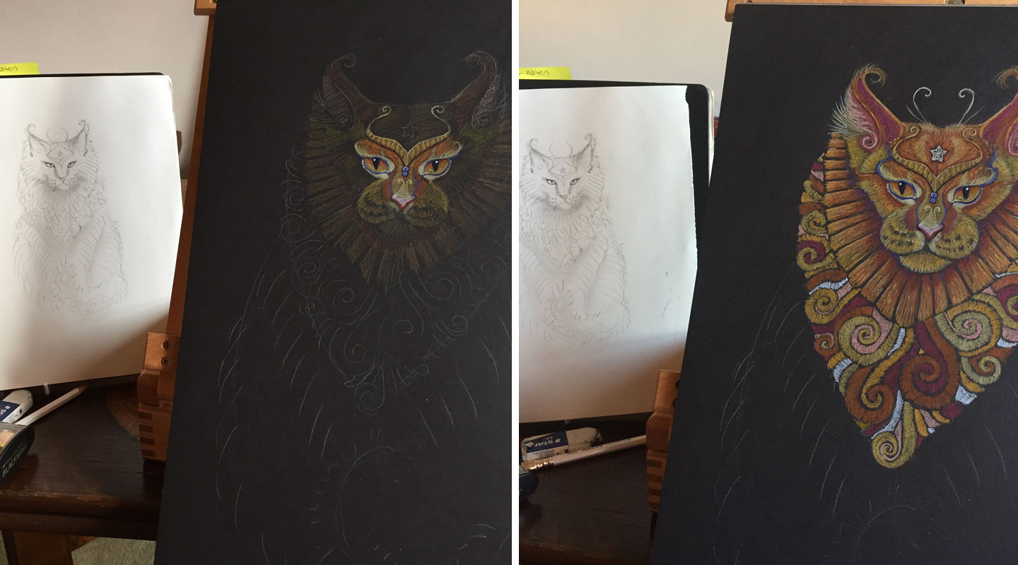 Images of Maine Coon Cat Totem in progress