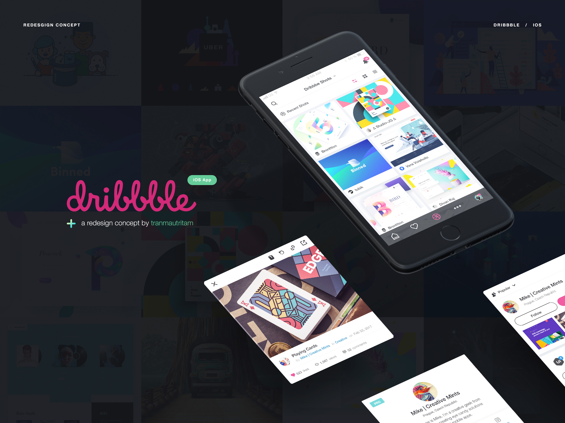 Interaction Design & iOS Design: Dribbble Redesign Concept