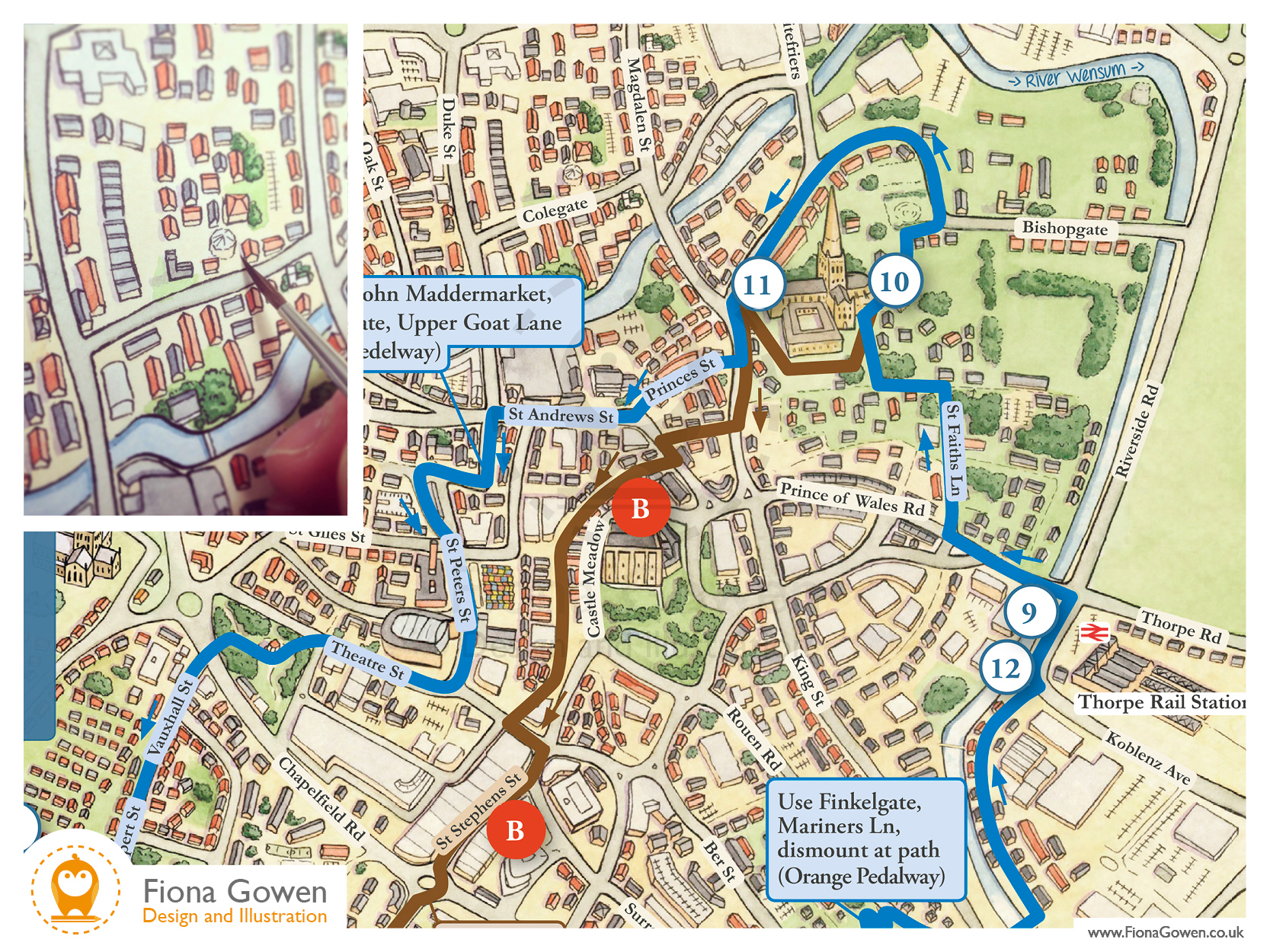 Edith Cavell Norwich cycle map illustration by Norwich map illustrator Fiona Gowen. Inset Fiona painting the illustrated map using Watercolours.