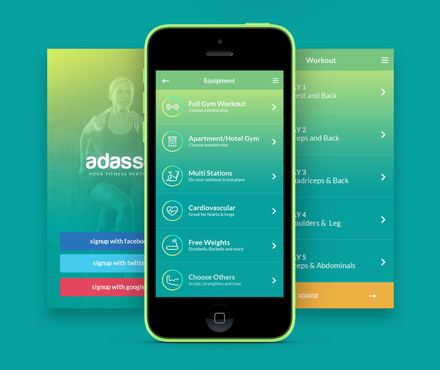 Adasse: Gym workout mobile app design on Behance