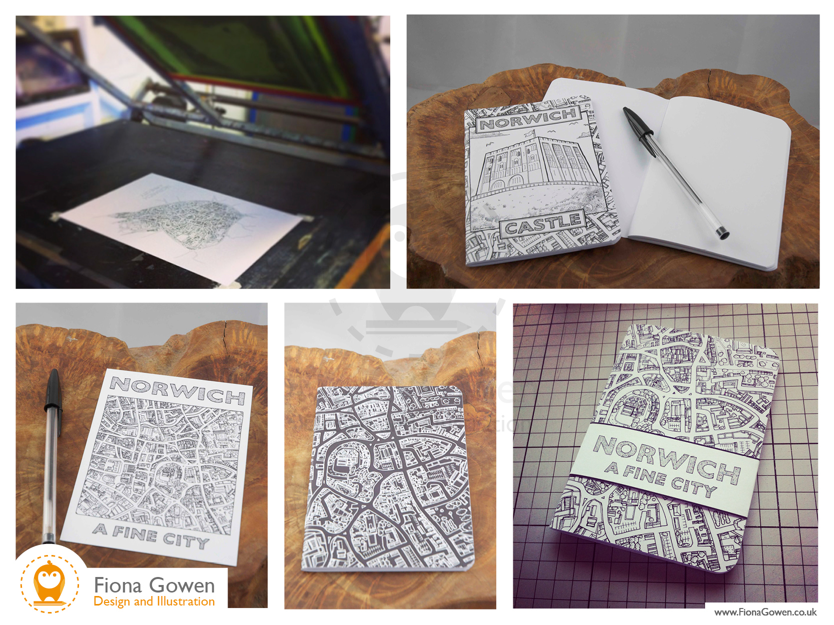 Norwich Map screen prints, Norwich Castle notebook, Norwich map notebook by map illustrator Fiona Gowen