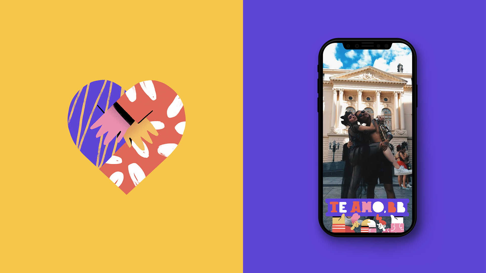 Dia dos Namorados Illustrations - Frames & Stickers for Facebook Stories