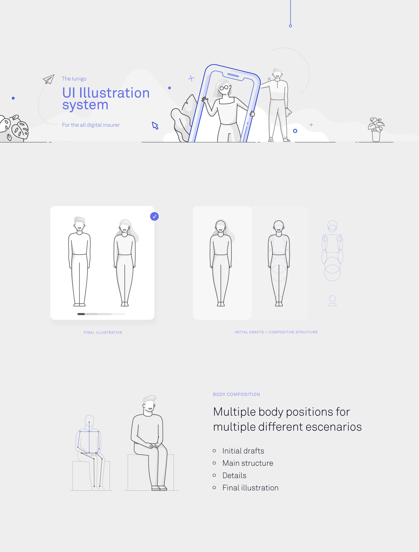 Lnigo, all digital insurer illustrations for UI