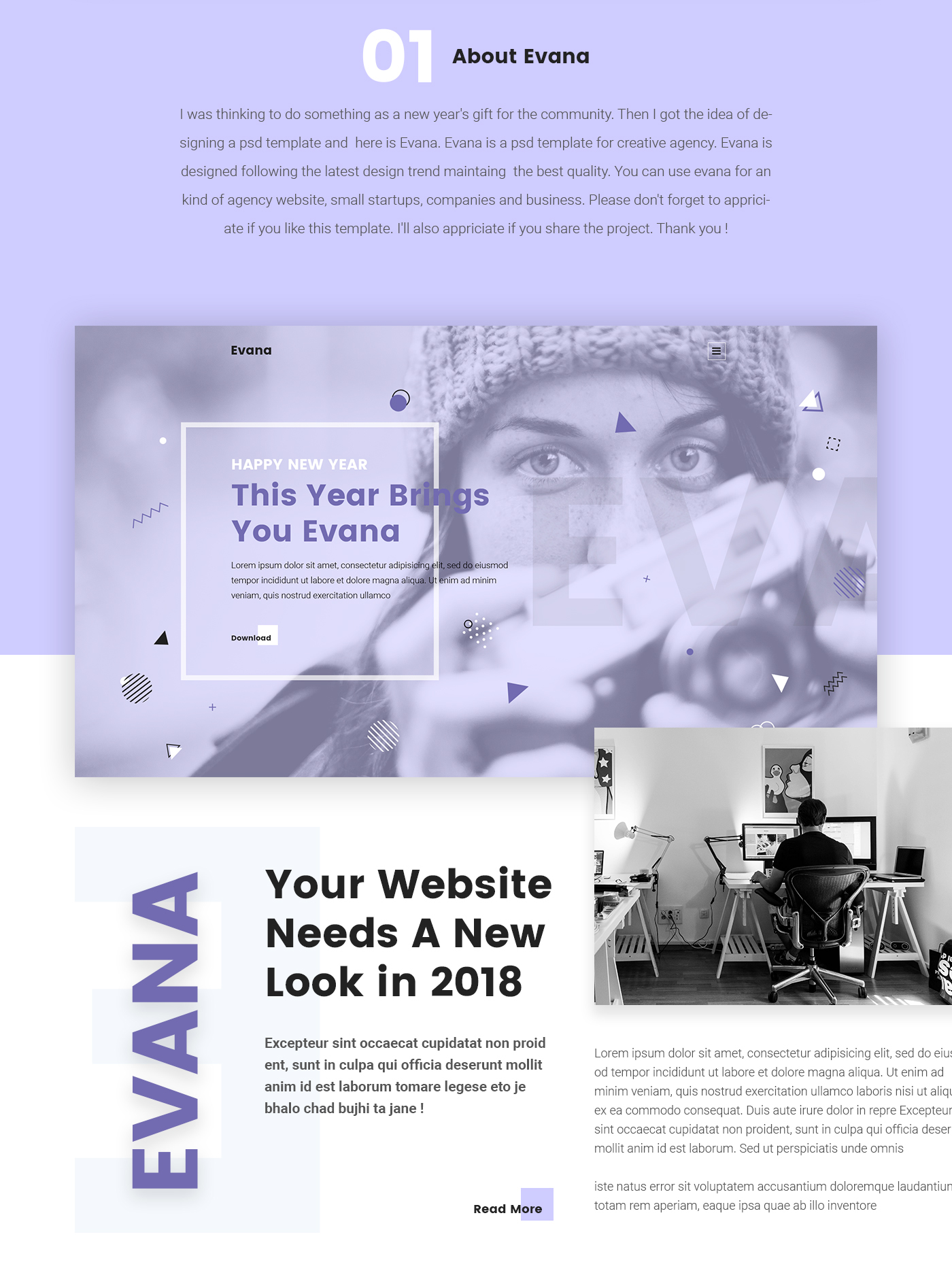 evana free creative agency website template on behance