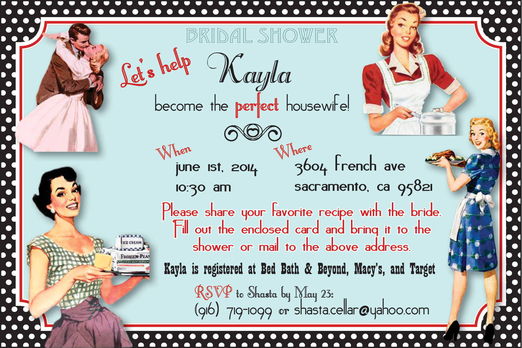 retro housewives bridal shower invitation