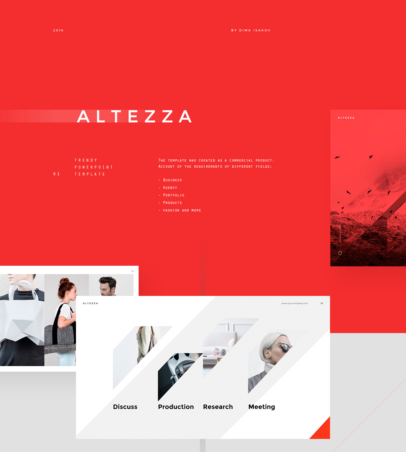altezza powerpoint template on behance, Presentation templates