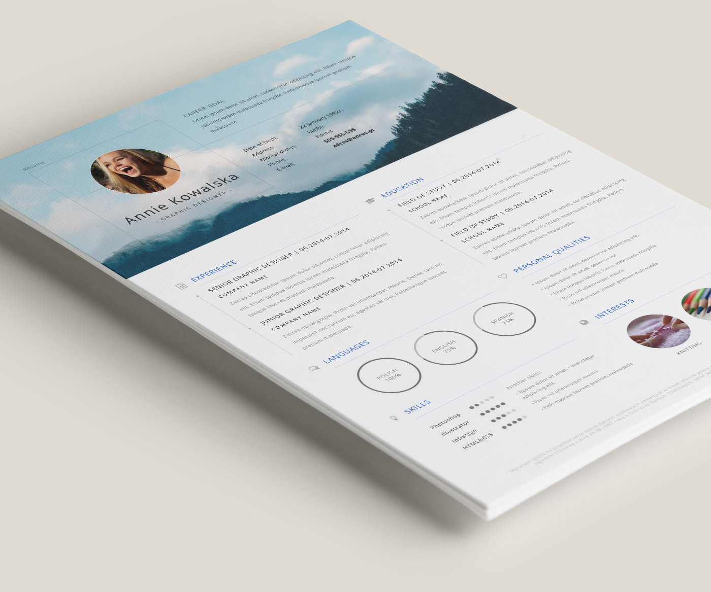 this is a free resume template that is intended for your personal use you can add this to your site with link to my behance the file format is ai and it