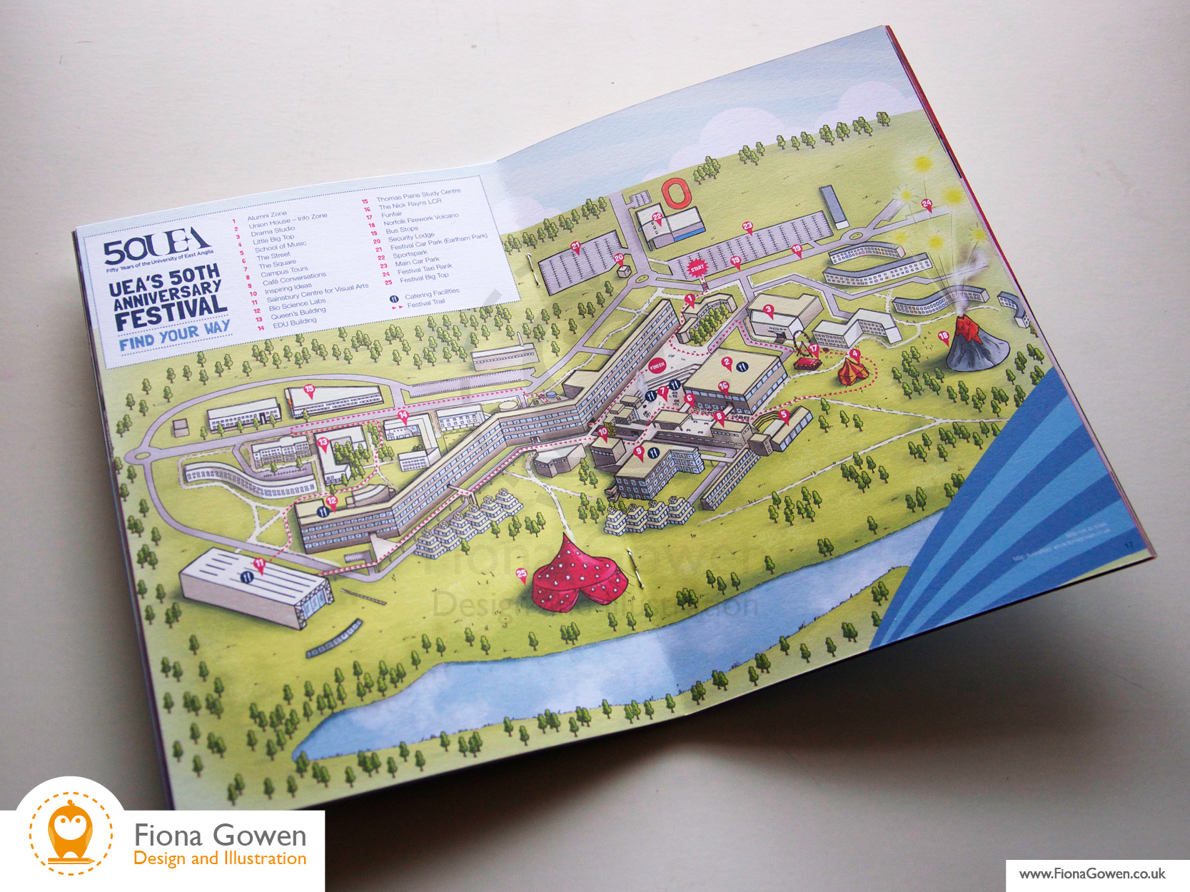 Map Illustration of University of East Anglia UEA by Fiona Gowen reproduced in 50th anniversary event booklet