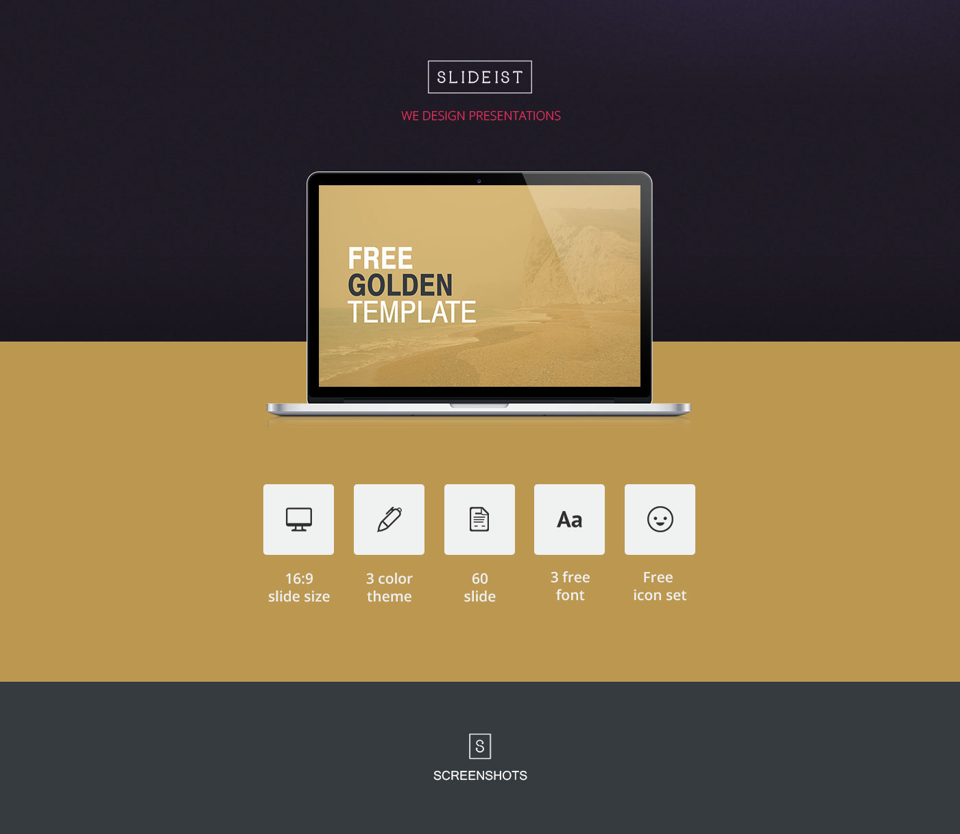 golden // free powerpoint presentation template on behance, Presentation templates