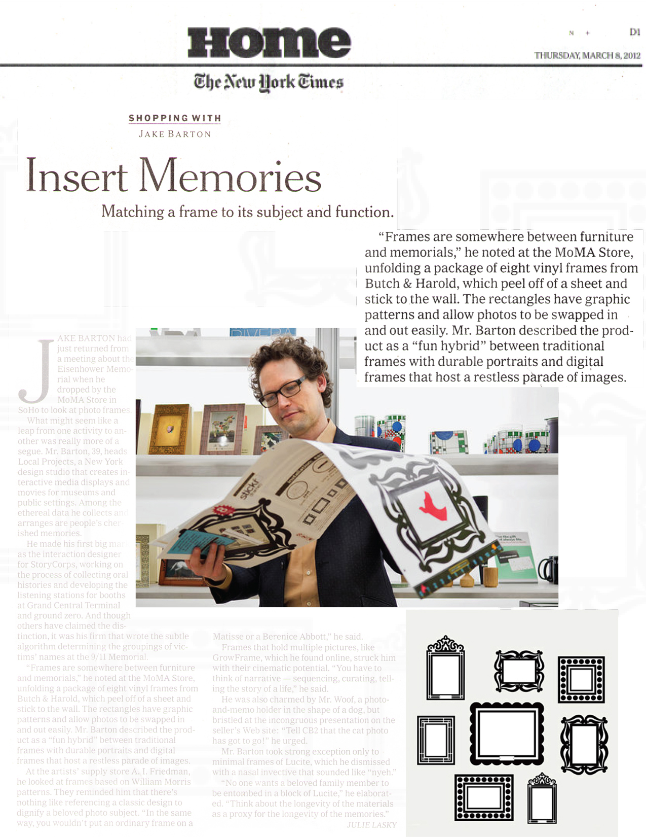 jake barton of the ny times examines packaging for stickr frames at the moma store by bread design article by julie lasky home and garden photo credit - New York Times Home And Garden