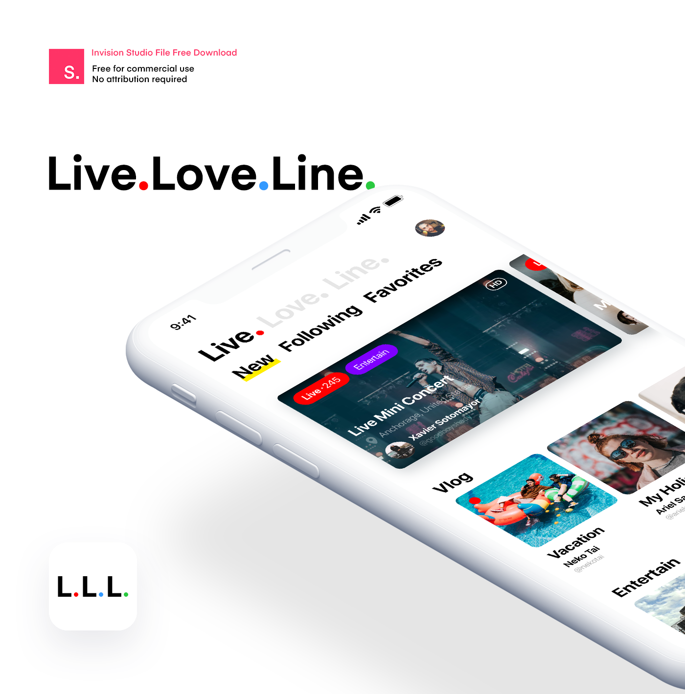 Live Love Line - Invision Studio File Free Download on Behance