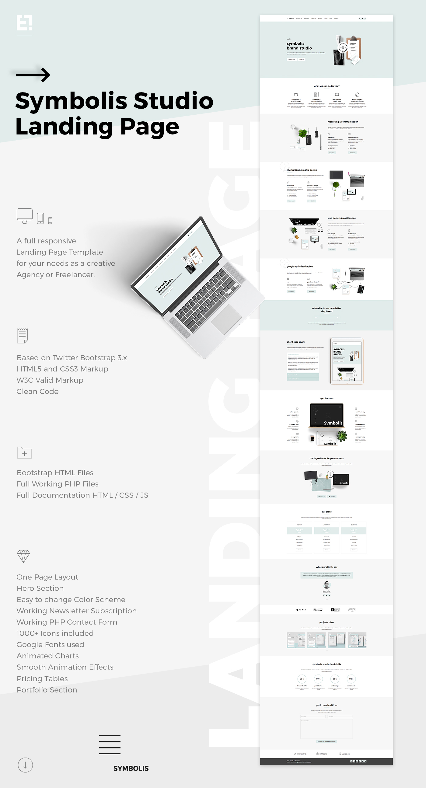 Symbolis studio landing page on behance click to download the landing page falaconquin