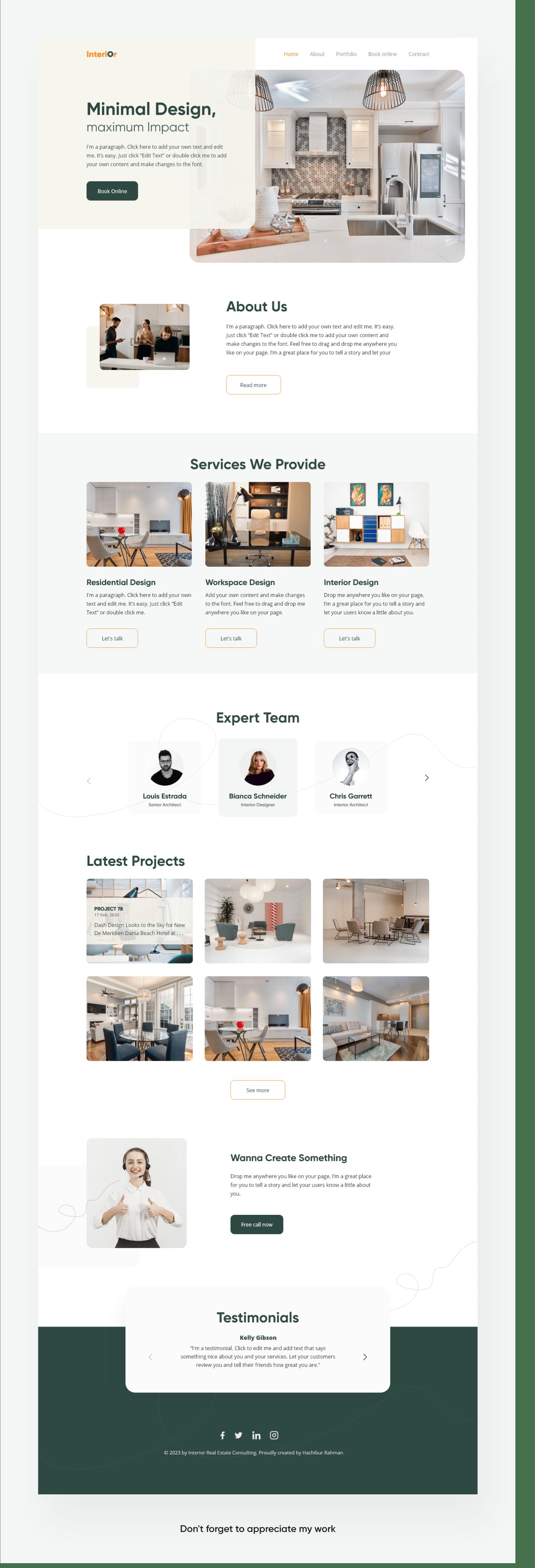 Interior Design Website On Behance
