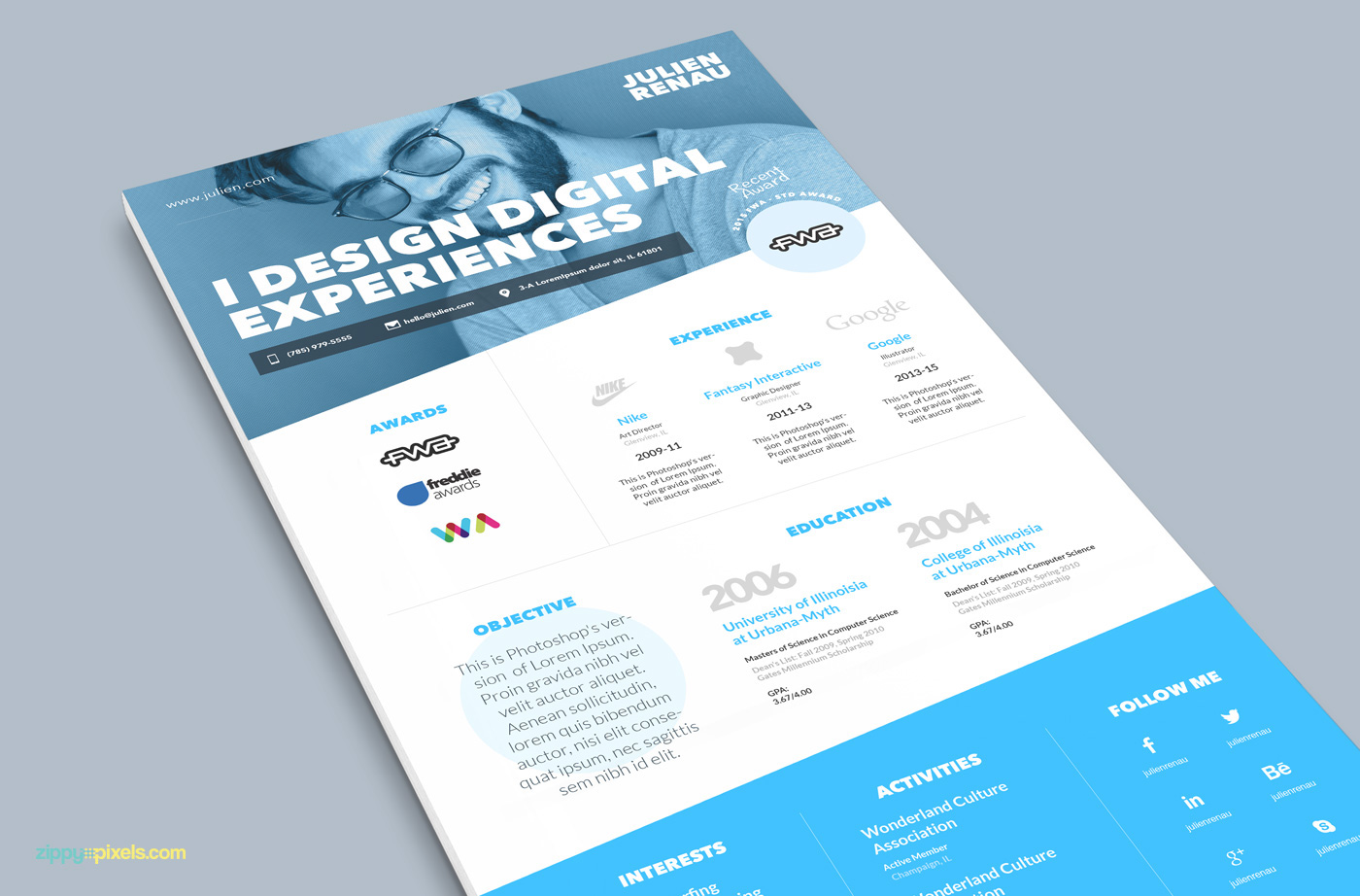 One Page Resume & Cover Letter Template on Behance