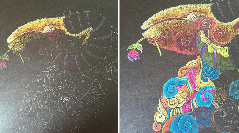 Photos of Ram Totem in progress