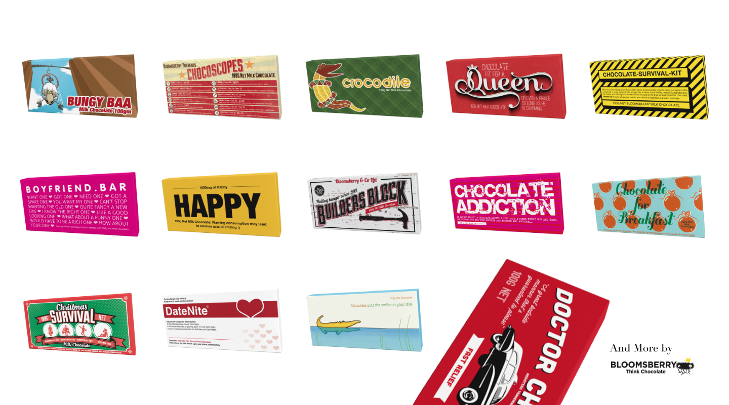 An array of Chocolate packects designed by Bloomsberry