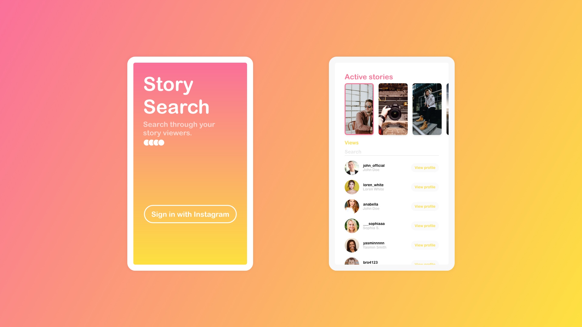 Search Insta Story Viewers App on Behance
