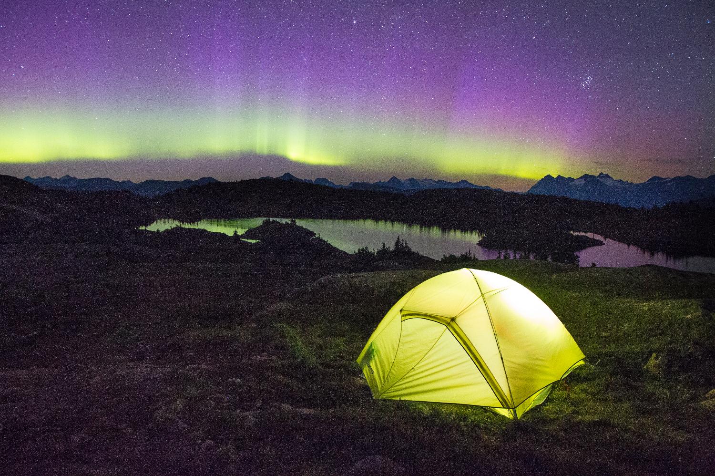 Camping under the aurora borealis near Terrace, BC.