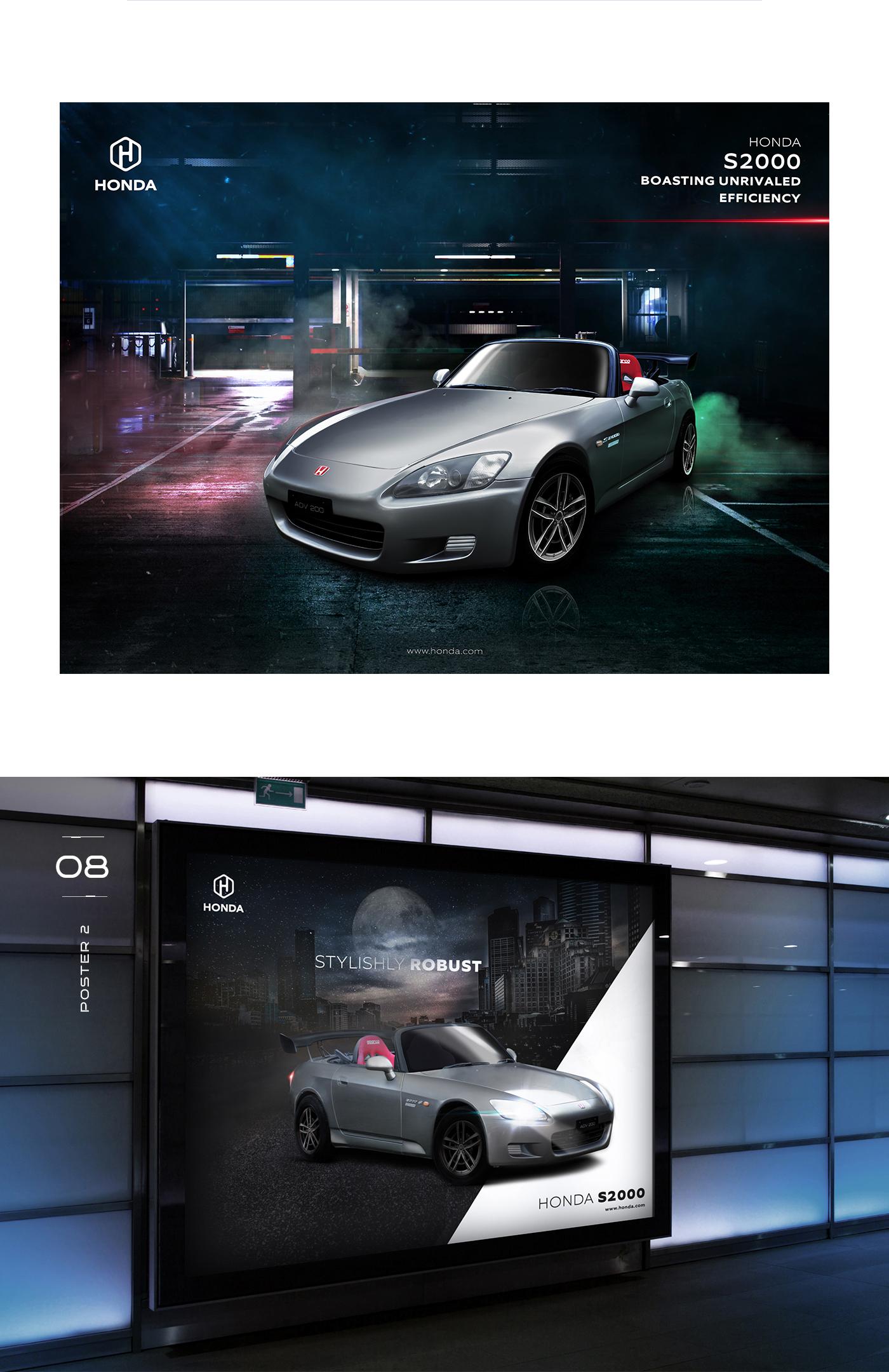 Honda Car Concept Branding Advertising Posters Design On Behance