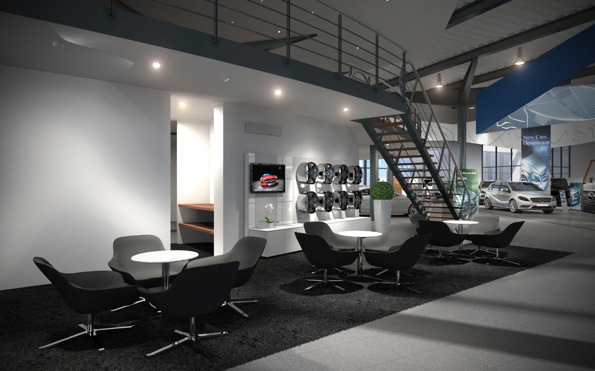 3d lab visualizations interior for Showroom mercedes benz