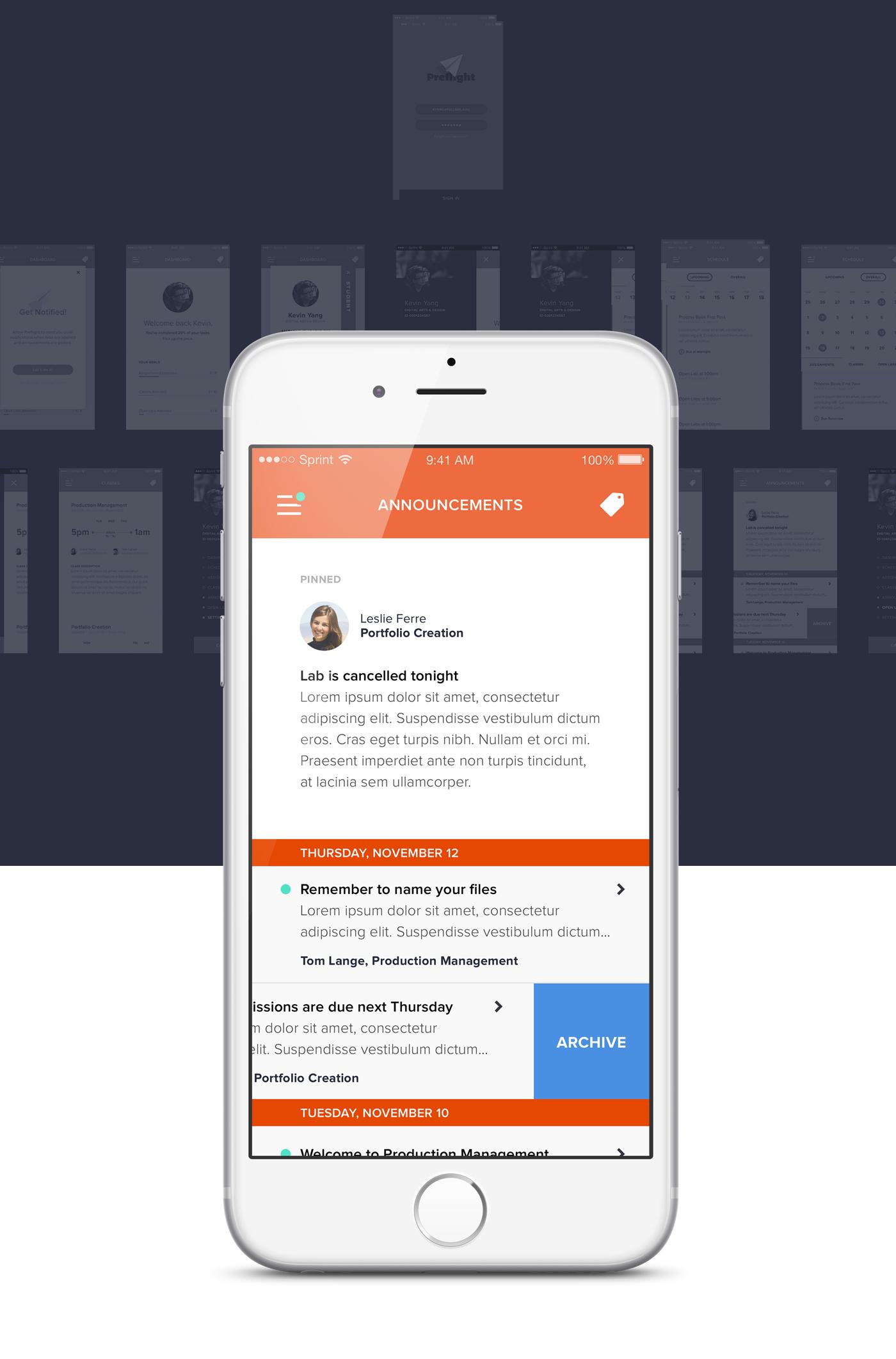 Preflight, Mobile app for productivity on Behance