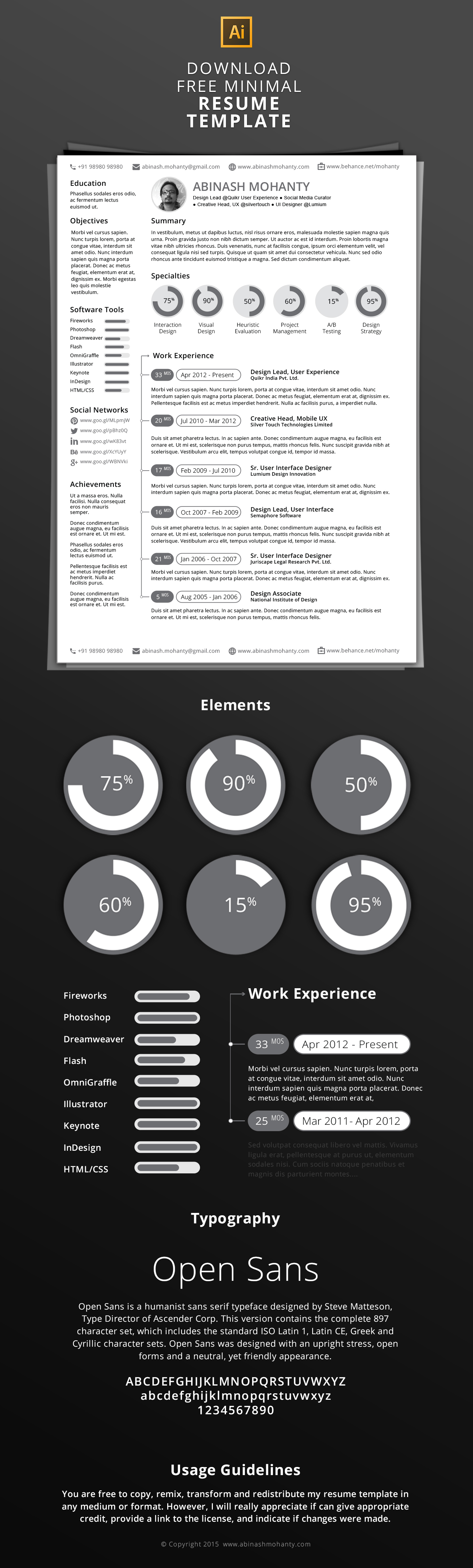 Free Minimal ResumeCv Template On Behance
