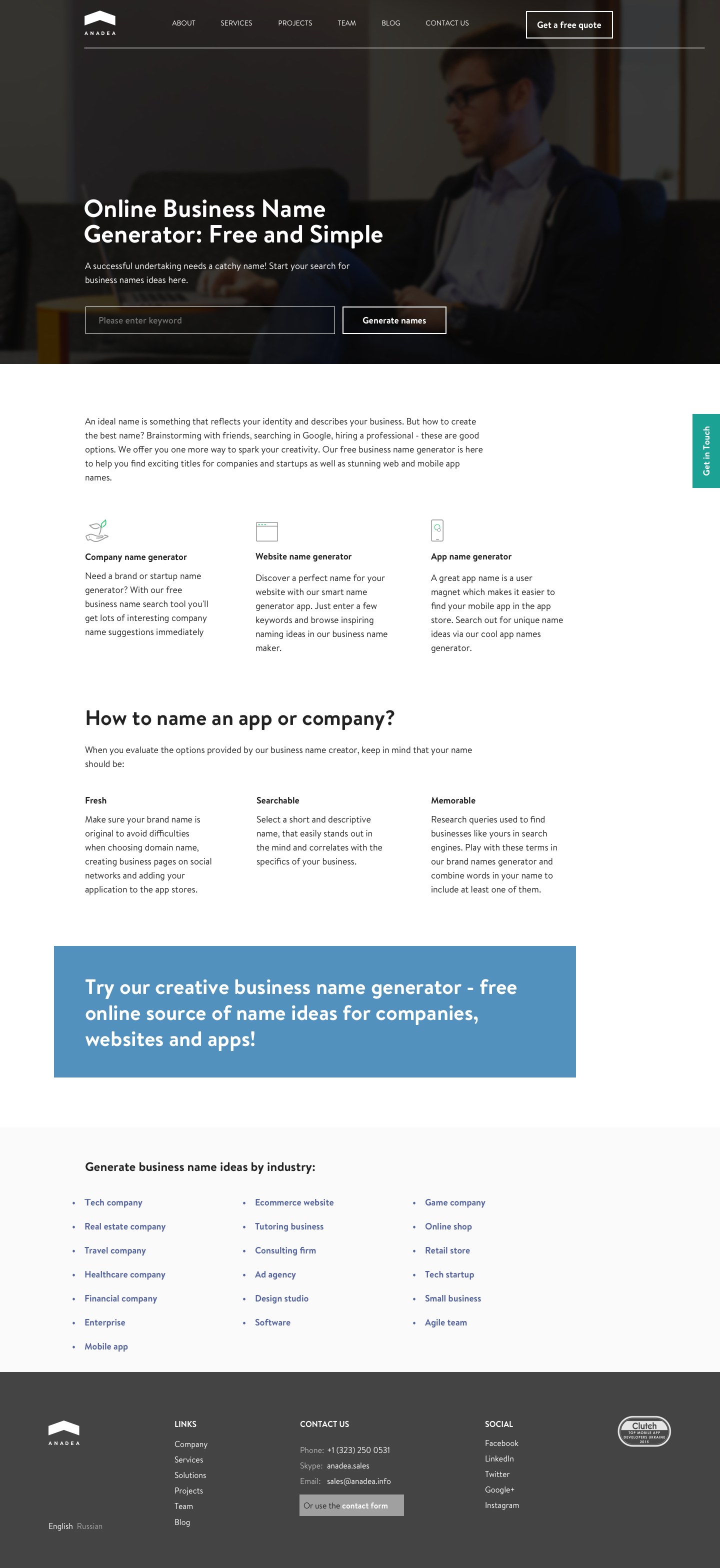 Online Business Name Generator on Behance