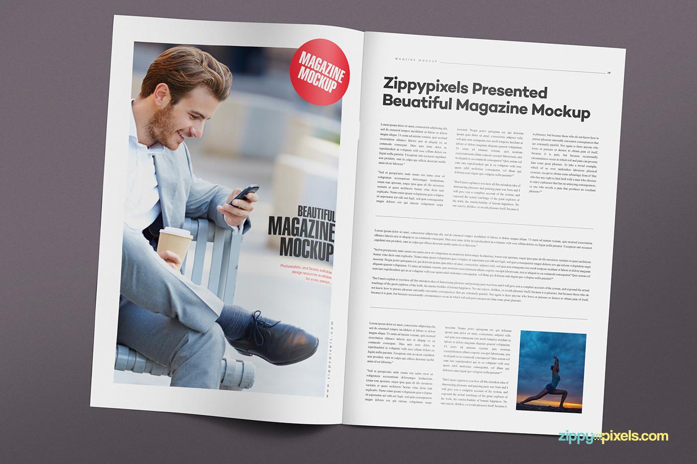 14 magazine spread mockups vol 7 on behance