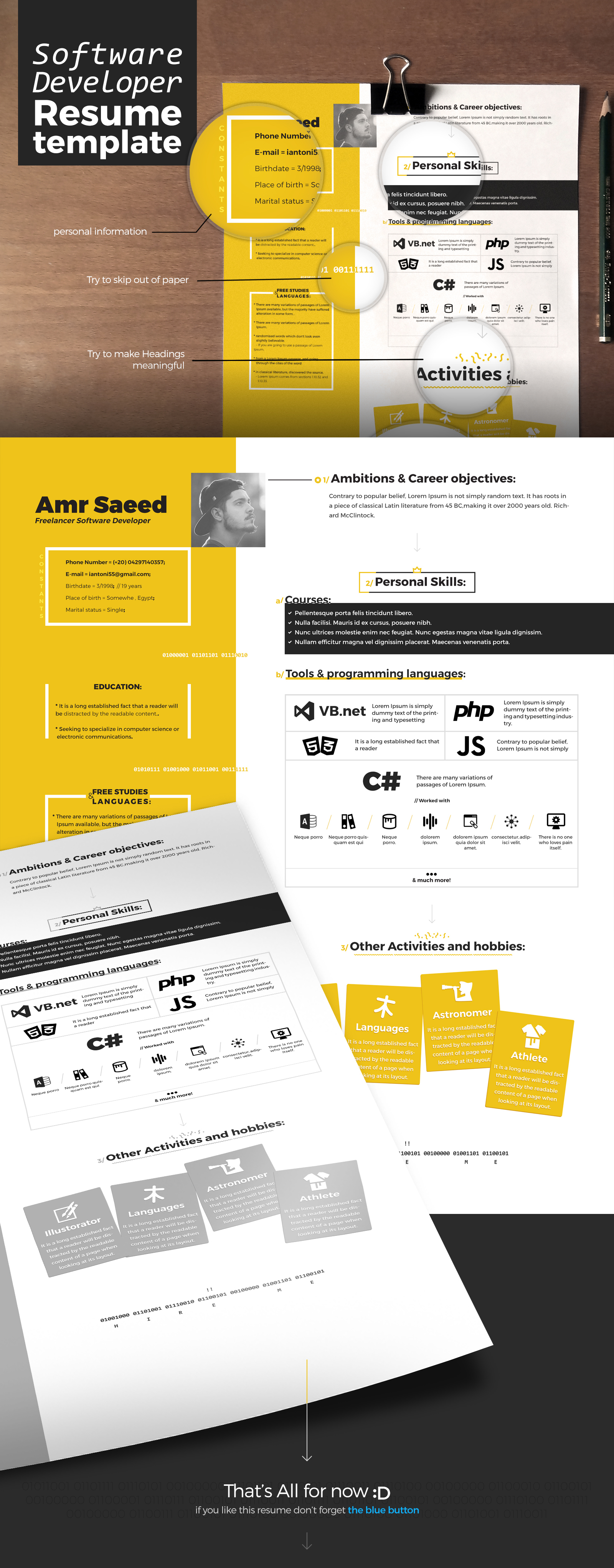 resume template for a software developer on behance
