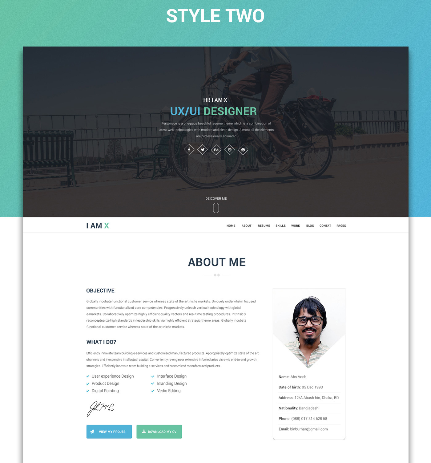 IAmX Freebie Web Resume Template PsdHtml On Behance