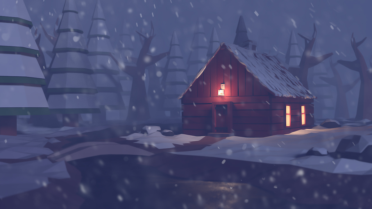 Low Poly Cabin In The Woods On Behance