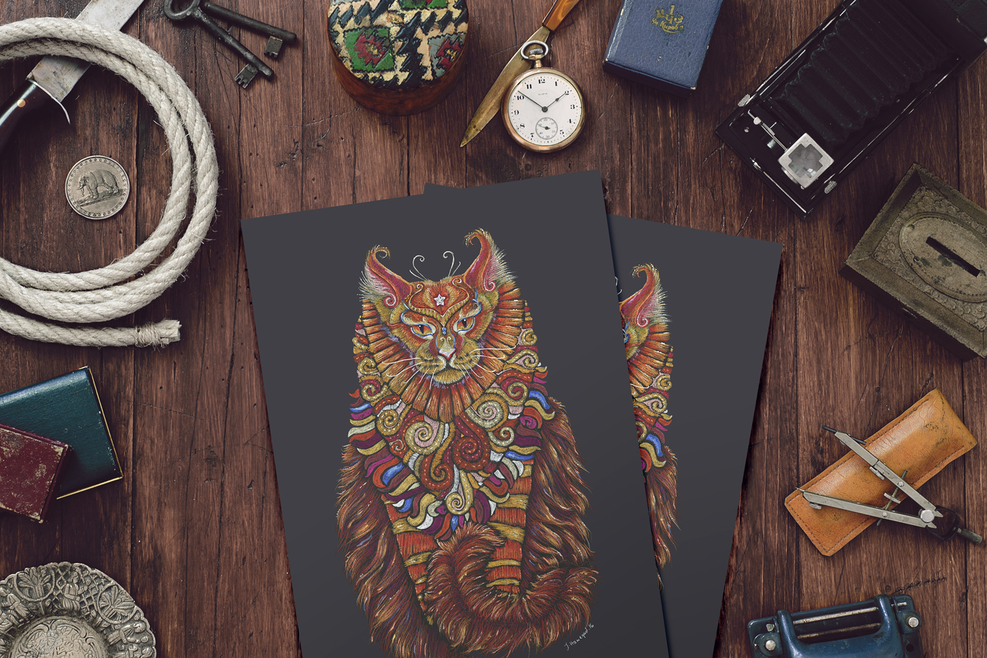 A photo of Maine Coon Cat Totem prints