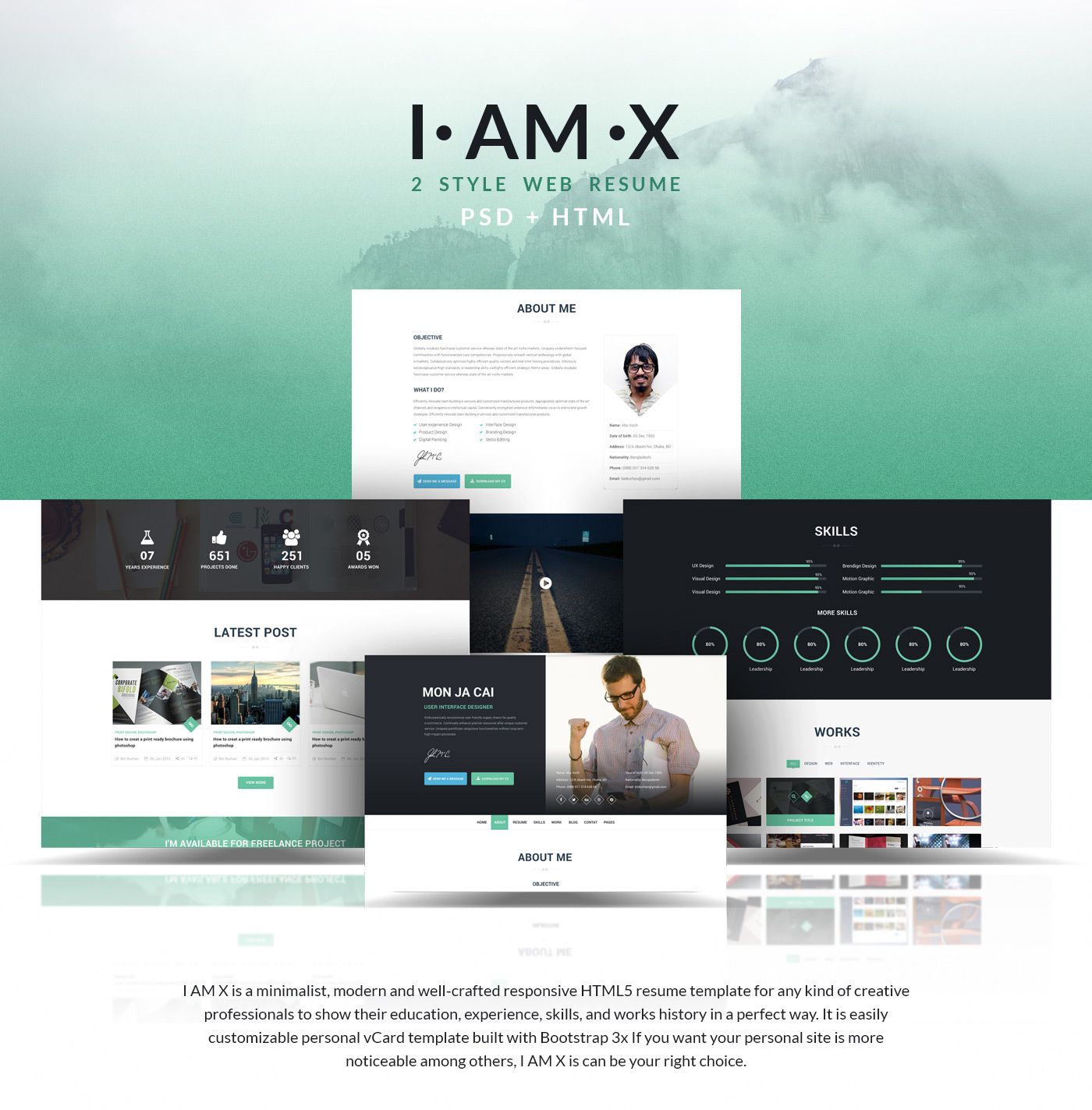 I Am X Freebie Web Resume Template Psdhtml On Behance